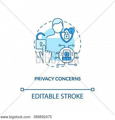 Privacy Concerns Concept Icon. Telemedicine Challenges. Patient Secret Information. Futuristic Healt