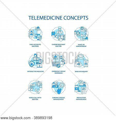 Telemedicine Concept Icons Set. Send An Enquiry. Chronic Disease Management. Interactive Medicine Id