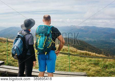 Bieszczady National Park In Poland Landscape. Autumn Mountain Trekking. Rural Scenery Background. Hi