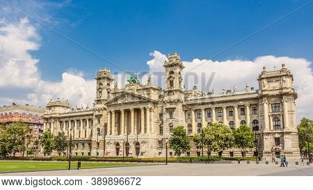 Budapest, Hungary - July 23, 2015: The Facade Of The Neprajzi Museum On Kossuth Square In Budapest H