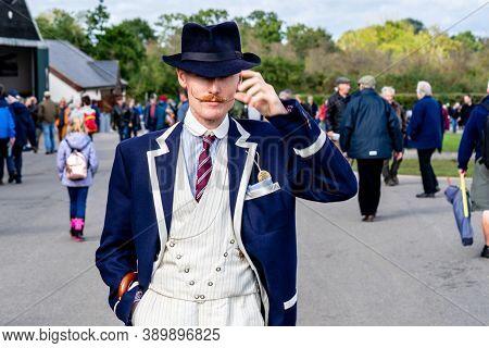 Old Warden, Bedfordshire, Uk, October 6, 2019.1914 Motorsport Enthusiasts Wearing Period Dress Cheer
