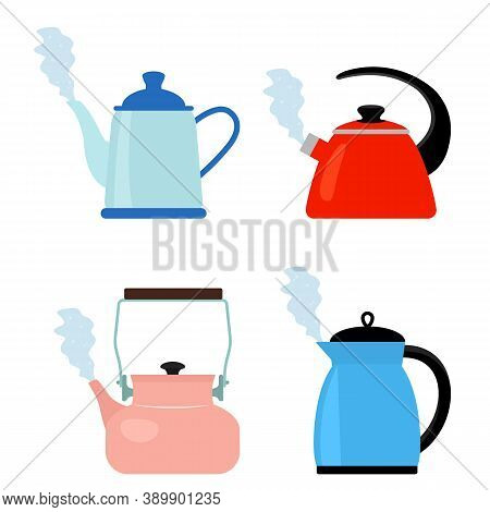 A Set Of Four Different Teapots That Are Boiling With Steam Comes Out Of The Kettle Spout. Flat Vect