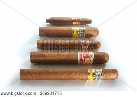 Bangkok, Thailand -august, 2020: Photo Of Cohiba, Cuaba, Hoyo De Monterrey, Romeo And Julieta Cigars