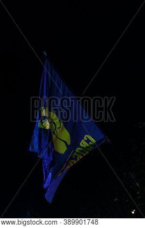 Dolyna, Ukraine: October 14, 2020 Peaceful Action Of The Political Party Svoboda. Nationalist Flag C