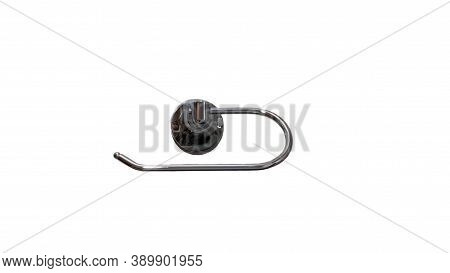 Chrome Plated Toilet Paper Holder Isolated On White Background,close-up,paper Holder