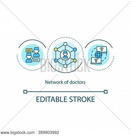 Doctors Network Concept Icon. Improving Healthcare Access Idea Thin Line Illustration. Seeing Patien