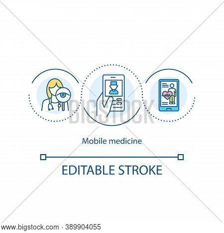 Mobile Medicine Concept Icon. Helpline Idea Thin Line Illustration. High Quality Medical Care. House