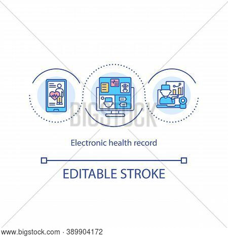 Electronic Health Record Concept Icon. Ehr Idea Thin Line Illustration. Electronically-stored Health