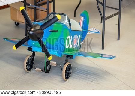Old Warden, Bedfordshire, Uk, October 6, 2019.authentic Pedal Plane For Kids