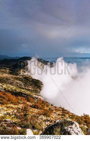 View From The Mountain Biokovo, Croatia. Top View, Beautiful Cloud