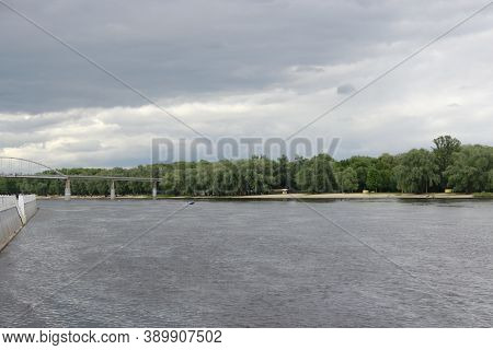 Modern Sozh Embankment In Gomel. Panorama With View To River. Beautiful Panorama To Sozh River In Be
