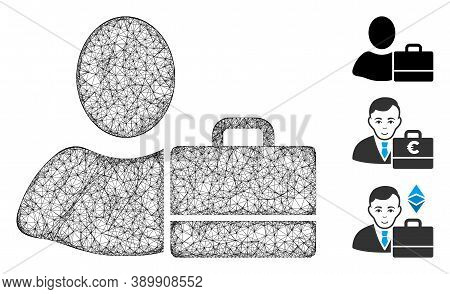 Mesh Accounter Polygonal Web Icon Vector Illustration. Model Is Created From Accounter Flat Icon. Tr