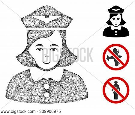 Mesh Airline Stewardess Polygonal Web Icon Vector Illustration. Abstraction Is Created From Airline