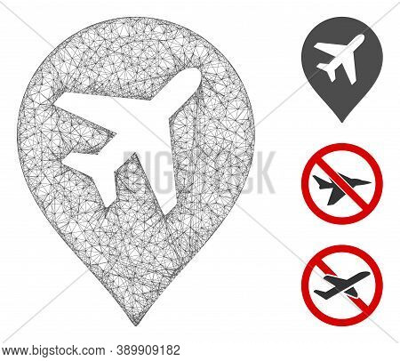 Mesh Airplane Polygonal Web Icon Vector Illustration. Carcass Model Is Created From Airplane Flat Ic