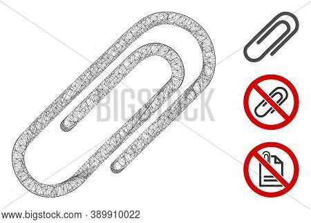Mesh Attach Paperclip Polygonal Web 2d Vector Illustration. Carcass Model Is Created From Attach Pap