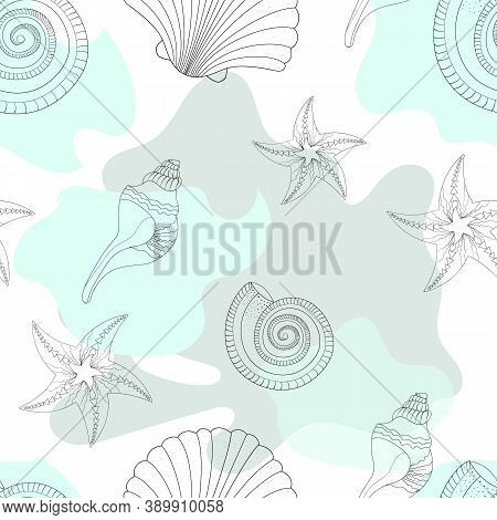 Childrens Texture. Sea Shells And Stains. Starfish. Patterned In Shades Of Turquoise Colors. Seamles