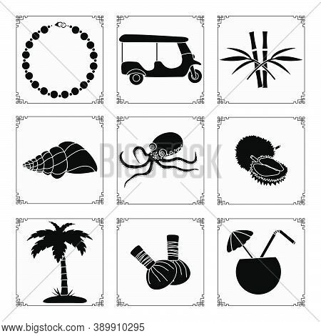 Thailand Symbols Set Vector Illustration Pearl Necklace, Tuk-tuk, Bamboo, Shell, Octopus, Palm Tree,
