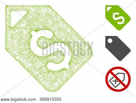 Mesh Bank Account Tag Polygonal Web Icon Vector Illustration. Carcass Model Is Based On Bank Account