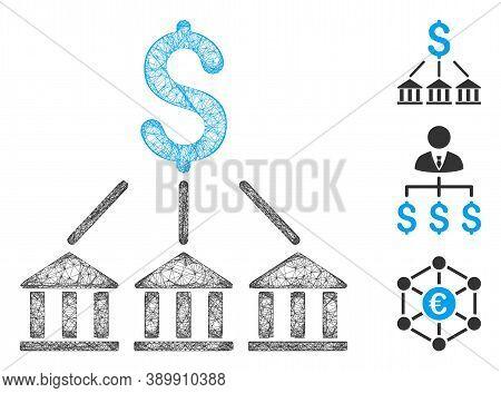 Mesh Bank Association Polygonal Web Icon Vector Illustration. Model Is Based On Bank Association Fla