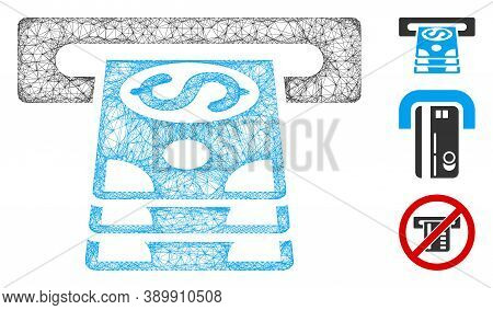 Mesh Bank Cashpoint Polygonal Web 2d Vector Illustration. Carcass Model Is Based On Bank Cashpoint F