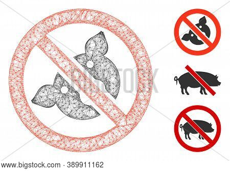 Mesh Banned Pig Polygonal Web Icon Vector Illustration. Abstraction Is Based On Banned Pig Flat Icon