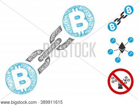 Mesh Bitcoin Blockchain Polygonal Web Symbol Vector Illustration. Carcass Model Is Based On Bitcoin