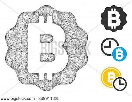 Mesh Bitcoin Medal Coin Polygonal Web Icon Vector Illustration. Model Is Based On Bitcoin Medal Coin