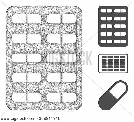Mesh Blister Polygonal Web Icon Vector Illustration. Model Is Based On Blister Flat Icon. Triangle N