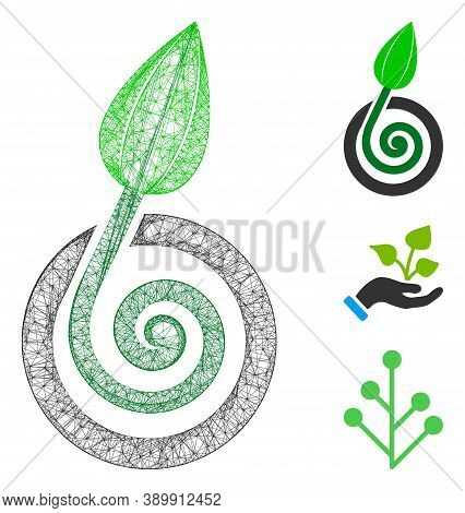 Mesh Bud Sprout Polygonal Web Icon Vector Illustration. Carcass Model Is Based On Bud Sprout Flat Ic