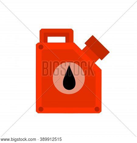 Canister With Fuel. Container With Oil. Flammable Object. Flat Cartoon Icon Isolated On White Backgr