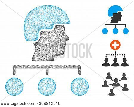 Mesh Builder Management Links Polygonal Web Icon Vector Illustration. Model Is Based On Builder Mana