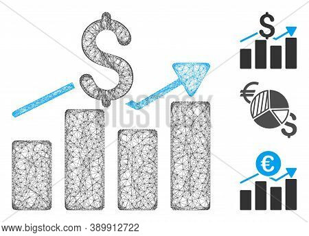 Mesh Business Chart Polygonal Web 2d Vector Illustration. Carcass Model Is Based On Business Chart F