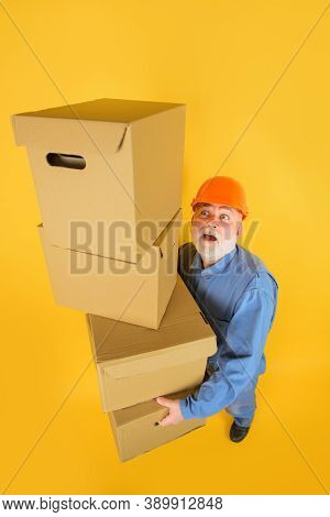 Delivery Concept. Man With Cardboard Box. Man With Boxes. Delivery Man With Boxes. Delivery From Sto