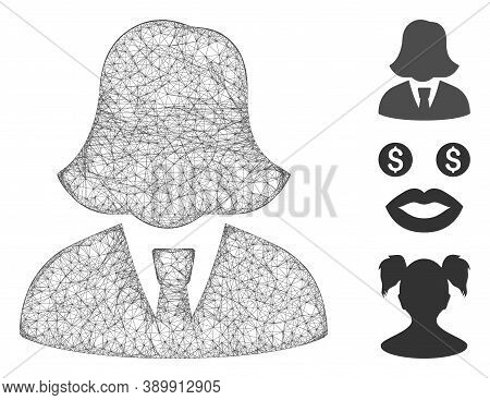 Mesh Business Lady Polygonal Web Icon Vector Illustration. Model Is Based On Business Lady Flat Icon