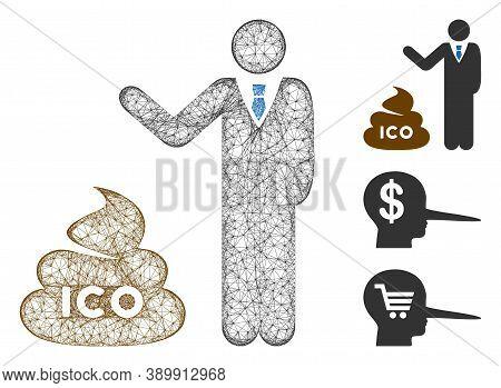 Mesh Businessman Show Ico Shit Polygonal Web Icon Vector Illustration. Model Is Based On Businessman