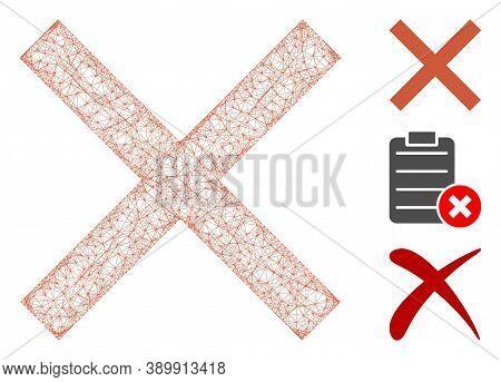 Mesh Cancel Polygonal Web Icon Vector Illustration. Model Is Based On Cancel Flat Icon. Triangle Net