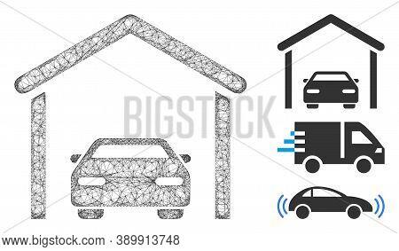 Mesh Car Garage Polygonal Web Icon Vector Illustration. Model Is Based On Car Garage Flat Icon. Tria