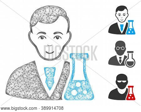 Mesh Chemical Scientist Polygonal Web Icon Vector Illustration. Abstraction Is Based On Chemical Sci
