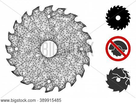 Mesh Circular Saw Blade Polygonal Web 2d Vector Illustration. Model Is Based On Circular Saw Blade F