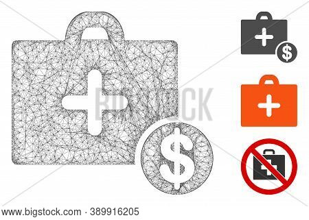 Mesh Commercial Medicine Case Polygonal Web Icon Vector Illustration. Carcass Model Is Based On Comm