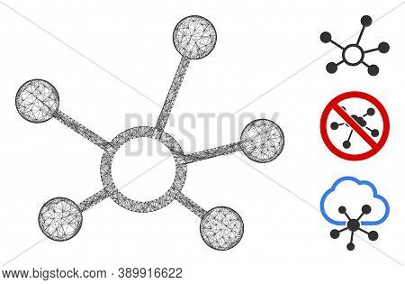 Mesh Connection Links Polygonal Web Symbol Vector Illustration. Carcass Model Is Based On Connection