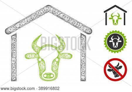 Mesh Cow Garage Polygonal Web Icon Vector Illustration. Model Is Based On Cow Garage Flat Icon. Tria