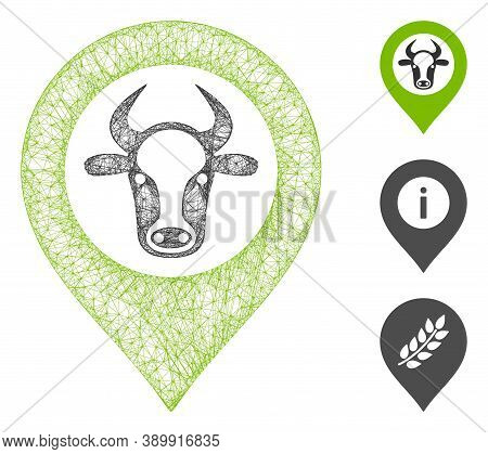 Mesh Cow Map Marker Polygonal Web 2d Vector Illustration. Carcass Model Is Based On Cow Map Marker F