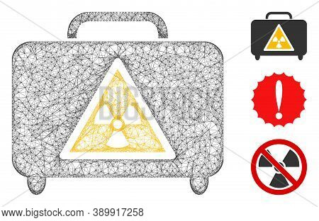 Mesh Dangerous Luggage Polygonal Web Icon Vector Illustration. Carcass Model Is Based On Dangerous L