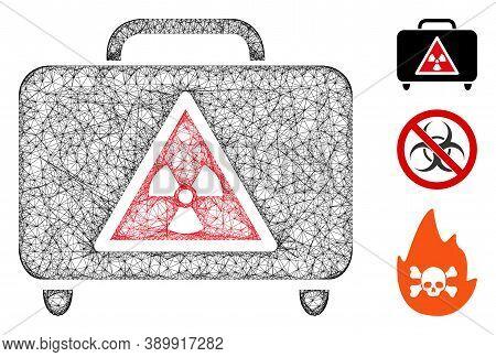 Mesh Dangerous Luggage Polygonal Web 2d Vector Illustration. Carcass Model Is Based On Dangerous Lug