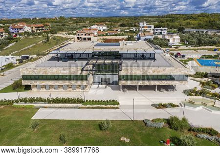 Vodnjan, Croatia - October 6, 2020 - The Modern Campus Of The Global It Company Infobip With All The