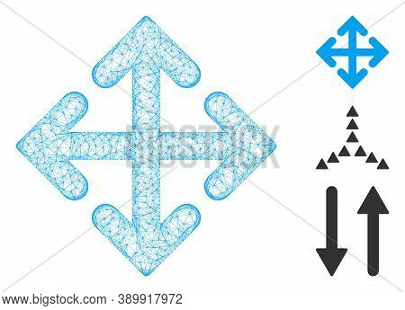 Mesh Direction Variants Polygonal Web Symbol Vector Illustration. Carcass Model Is Based On Directio