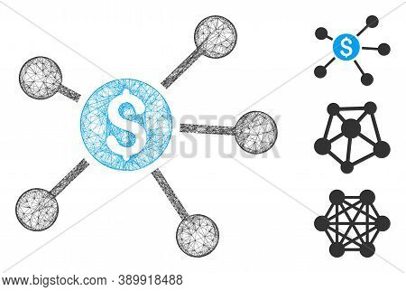 Mesh Dollar Links Polygonal Web Icon Vector Illustration. Model Is Based On Dollar Links Flat Icon.