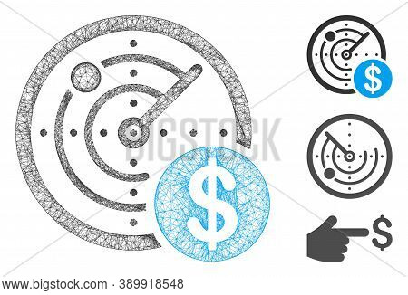 Mesh Dollar Radar Polygonal Web 2d Vector Illustration. Model Is Created From Dollar Radar Flat Icon