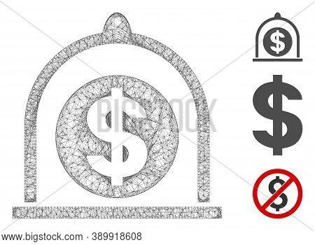 Mesh Dollar Standard Polygonal Web Symbol Vector Illustration. Abstraction Is Based On Dollar Standa